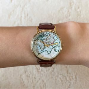Urban Outfitters Map Watch w/ Maroon Leather Strap
